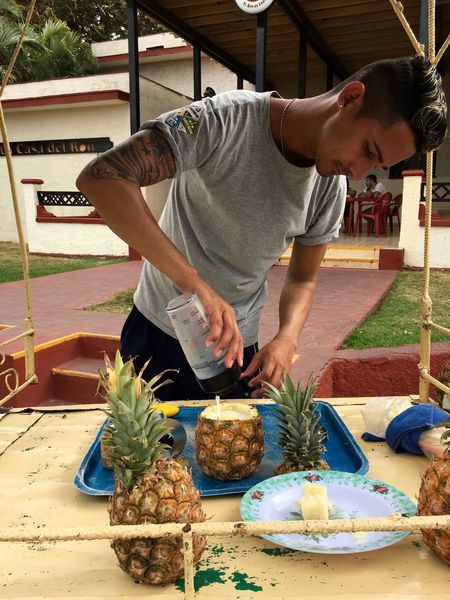Making Pina Colada Bar Barman Cocktail Cuba Day Drink Food Food And Drink Freshness Man One Person Pineapple Piña Colada Real People Varadero Business Stories Small Business Heroes