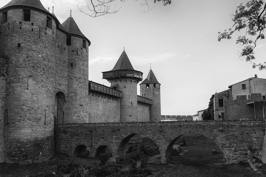 Carcassonne Carcassonne City MedievalTown Past Architecture Black And White Building Exterior Built Structure Day History History Place Low Angle View Medieval Architecture Monochrome No People Outdoors Travel Destinations