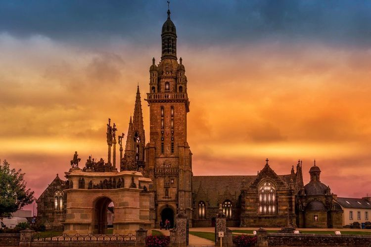 Pleyben Church and sunset. A beautiful village found in Brittany France. This public building shares some amazing architecture with the locals and tourists.