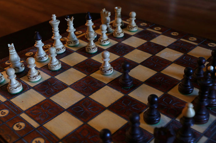 Chess board, game, close up Board Game Checked Pattern Chess Chess Board Chess Game Chess Piece Chess Set Chessboard Chessgame Close-up Game Game Time  Intelligence King - Chess Piece Knight - Chess Piece Leisure Games No People Pawn - Chess Piece Queen - Chess Piece Strategy Wood Wood - Material Wooden