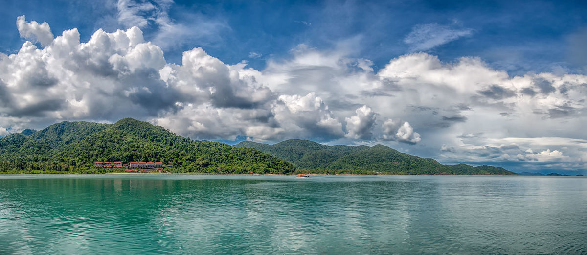 Bang Bao Pier Beauty In Nature Cloud - Sky Koh Chang Mountain Nature No People Outdoors Panoramic Landscape Panoramic Photography Scenics Sea Sky Thailand Tranquil Scene Tranquility Tropical Water Waterfront