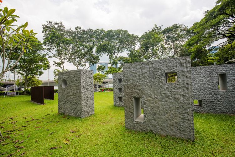 Wall Sculptures Hole In The Wall Cloud - Sky Day Field Grass Green Color Land Nature No People Outdoors Sculpture Sky Stone Tree Walls