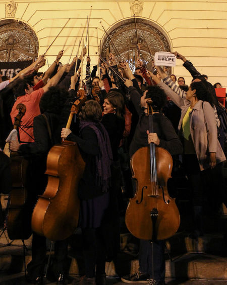String Gang - Fora Temer Arts Culture And Entertainment Brazil Brazil ❤ Cello Fight For Your Right Foratemer Music Musician Performance Rio De Janeiro Strings Togetherness Violine