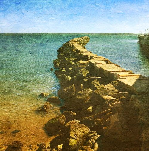 Jetty Curves Rocks Bythesea DistressedFX Longislandsound Rye_ny Rye_playland Water