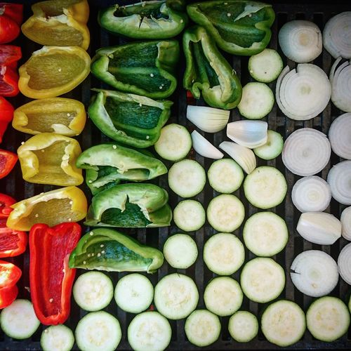 Full frame shot of vegetables on barbeque grill