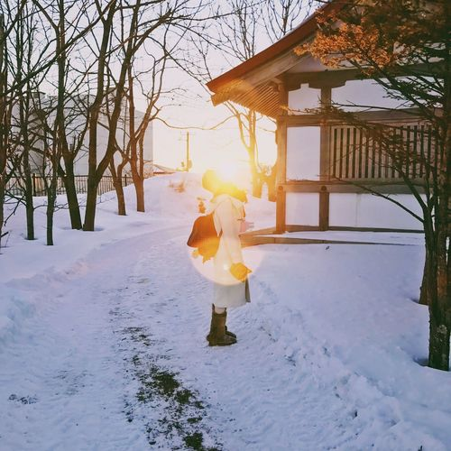 The City Light Winter Full Length Snow Cold Temperature Sunset Lens Flare Child Childhood Sunlight One Person Tree Outdoors Warm Clothing People Nature Beauty In Nature Day Adult Shadows & Lights Week On Eyeem EyeEm Best Shots