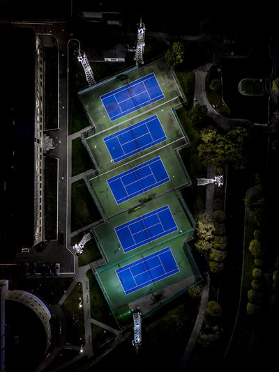 Aerial View Of Court At Night