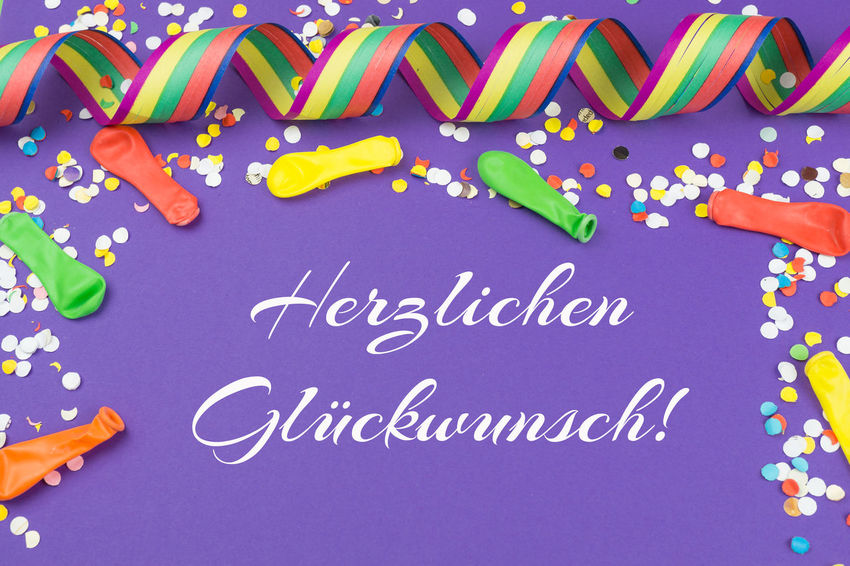 Carnival Celebration Confettis Congratulations Event Herzlichen Glückwunsch Birthday Celebration Close-up Coloful Color Communication Confetti Day Greeting Card  Greetings Indoors  Multi Colored Party Party - Social Event Polka Dot Streamers Text Ultra Violet