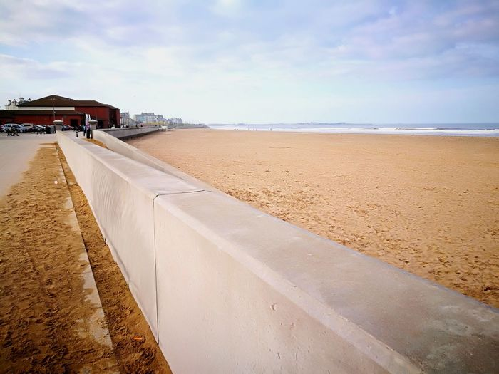 Empty Beach Beach Sand Summer Sky Architecture Cloud - Sky Shore Coastline Calm Tide Coast Coastal Feature Ocean Sand Dune