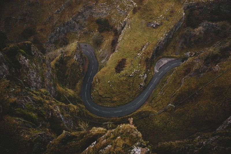 Aerial View Of Winding Road On Mountain