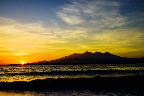Sunrise at Gili Meno Island Beach Beach Photography Nature Nature_collection Tranquility Tranquil Scene Ocean Ocean View Vacations Destination Mountain Sunrise Morning Landscape Nature Photography Oceanside Sea Sea And Sky Seascape Beachphotography