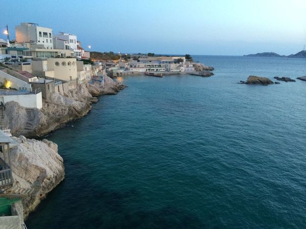Architecture Beauty In Nature Blue Building Exterior Built Structure Clear Sky Copy Space Day Horizon Over Water Marseille Nature Outdoors Rippled Rock - Object Scenics Sea Sky Tranquil Scene Tranquility Water Waterfront