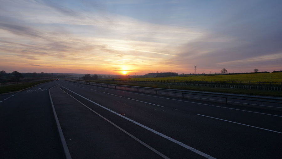 Dual Carriageway White Lines Corby Kettering Empty Road Orange Sunshine 😚 5am Sunrise 5amphotography Sky And Clouds Fields Trees And Sky Noone No One No People Clouds White Lines 43 Golden Moments Welcome To Black