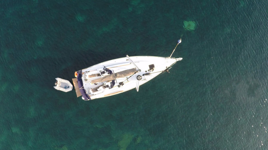 Croatia Directly Above Floating Floating On Water High Angle View Nautical Vessel No People Sailboat Water Yacht