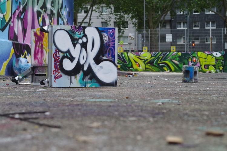 Graffiti on wall in city