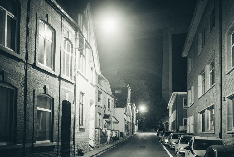 Ardennes Atmospheric Mood darkness and light Dark Eerie Beautiful Ardennen Belgium Spooky Atmosphere Architecture Building Exterior Built Structure Street City Building Illuminated Street Light Lighting Equipment Night Land Vehicle No People Road Outdoors Alley Blackandwhite Streetphotography