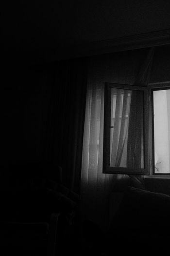 Indoors  Window Curtain Dark Home Interior Domestic Room No People Seat Architecture Absence Copy Space Abandoned Chair Day Darkroom Building Furniture Spooky House Blackandwhite Black And White