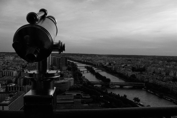 Architecture City Cityscape Coin-operated Binoculars Day Eifel Tower No People Outdoors Paris Paris ❤ Paris, France  Sky Water