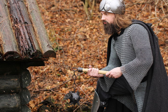 Fight Warrior Armour Battle Beard Bearded Chain Mail Chainmail Europe Forest Got Historic History Iron Age Knight  Larp Medieval Medieval Costume Medieval Weapons Middle Ages Old Spiked Spiked Ball Viking Village