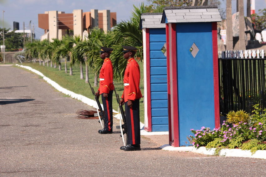 Gun Kingston, Jamaica National Heroes Park Standing Ceremony Honorary Guard Stiff Watching