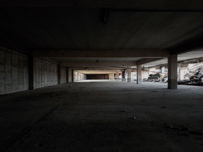 Empty road in abandoned building