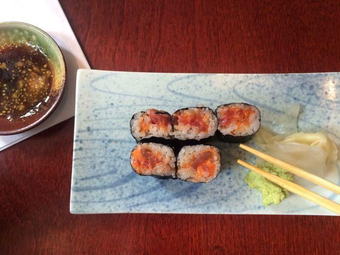 Lunch Sushi Sushi Rolls Temaki Table Eating Ginger Wasabi Sojasosse