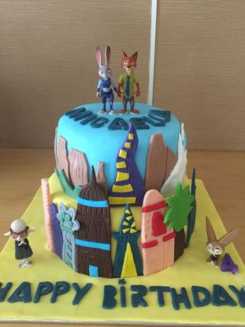 High Angle View Food And Drink No People Celebration Indoors  Zootopia Cake