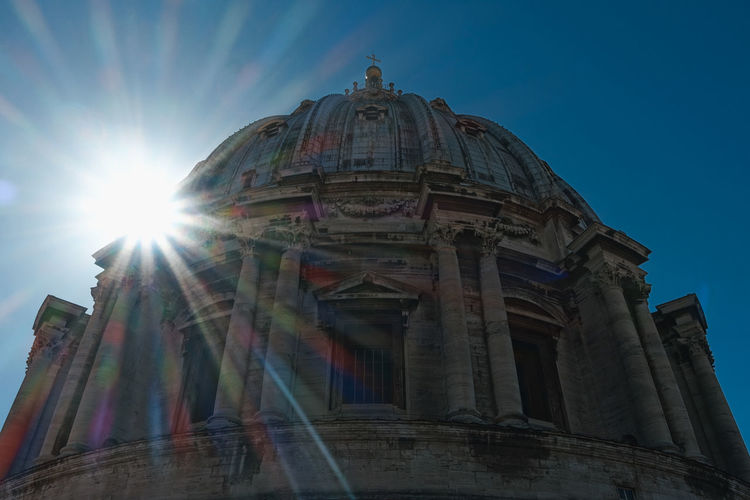 Rome Vatican Architectural Column Architecture Belief Building Building Exterior Built Structure Dome History Lens Flare Low Angle View Nature No People Outdoors Place Of Worship Religion Sky Sun Sunbeam Sunlight The Past Tourism Travel Travel Destinations