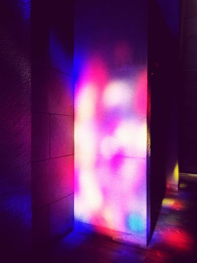 Oratoire St-Joseph Window Reflections Window Light Glass Windows With Reflections Glass Windows Multi Colored Window Pink Color Close-up Architecture Purple Color Refraction Light Painting Purple Spectrum