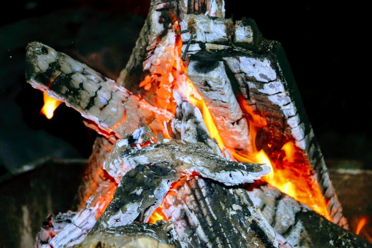 CLOSE-UP OF FIREWOOD ON LOG