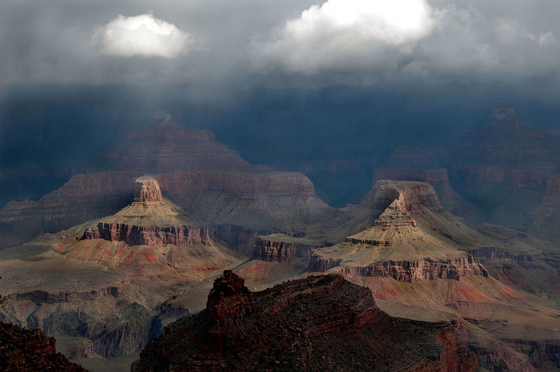 Rocky Mountains Against Cloudy Sky At Grand Canyon National Park
