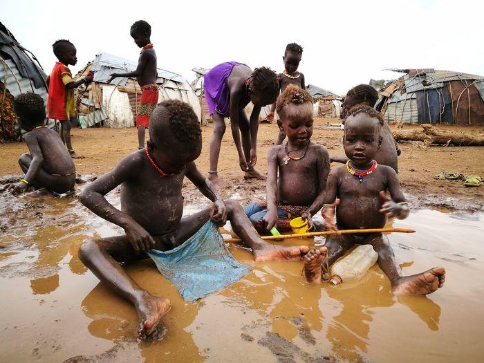 Tribe Traveling Ethiopia National Park Exploring Afrika Native People Pond Children Playgraund