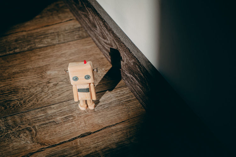 High angle view of toy on wooden table
