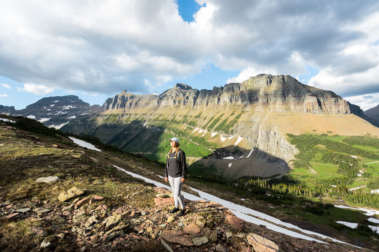 Mt Oberlin Glacier National Park Nature Hiking Moutains Sky Clouds Mountain Cloud - Sky One Person Full Length Beauty In Nature Scenics - Nature Leisure Activity Mountain Range Standing Day Casual Clothing Adult Adventure Rock Lifestyles Landscape Environment Outdoors Looking At View