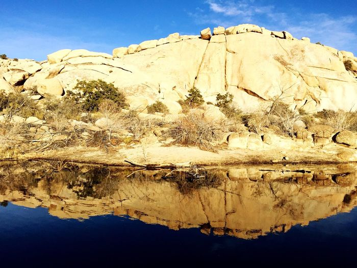 Barker Dam in Joshua Tree National Park Nature Beauty In Nature Rock - Object Tranquility Sunlight Scenics Outdoors Reflections In The Water Textured  Cold Temperature Barker Dam