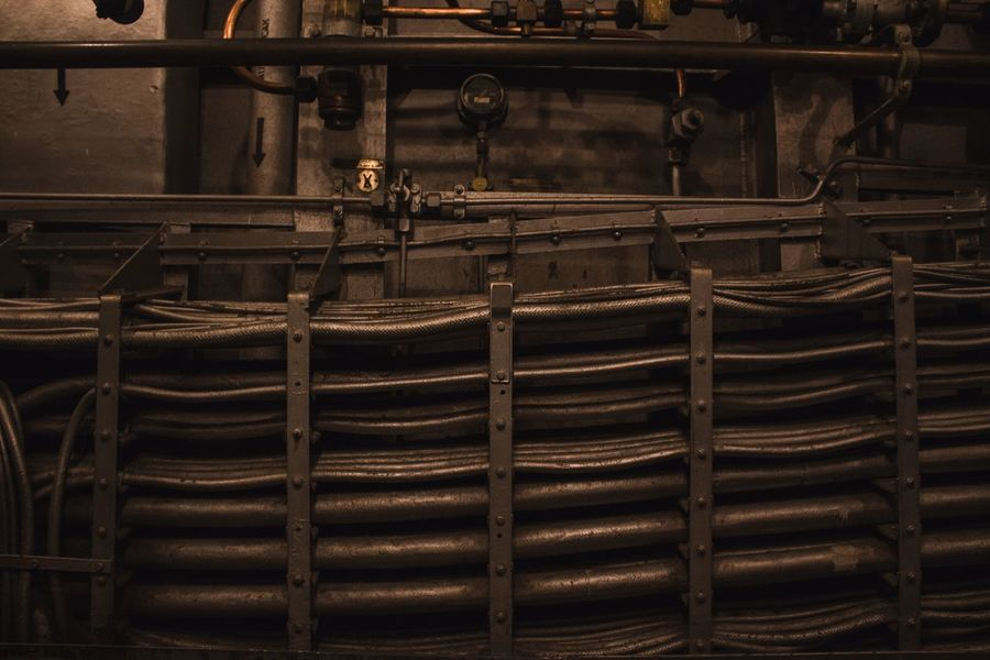 USS North Carolina Abstract Battleship Wiring  Pipe No People Day Factory Indoors  Industry Pipes