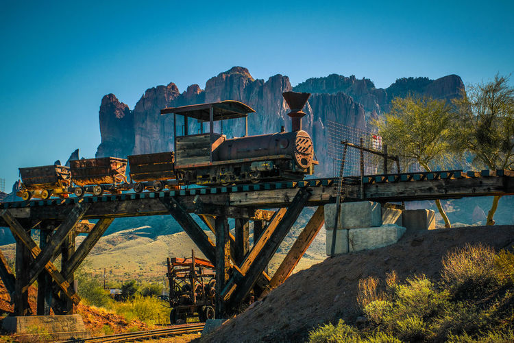 Architecture Arizona Blue Bridge - Man Made Structure Colors Desert Ghost Town M Outdoors Railing Sunlight Superstition Mountain