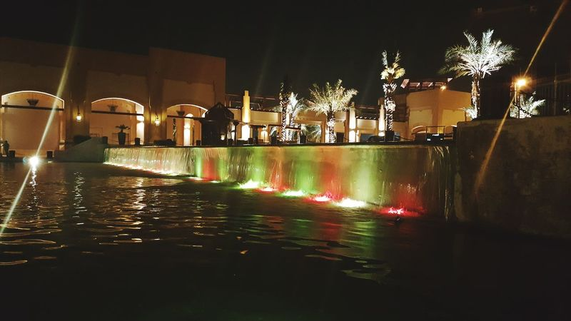 Night Reflection Illuminated Water Travel Destinations Fountain Architecture City Built Structure Outdoors No People Waterreflections  Waterreflections  Multi-layered Effect Kuwait Souk Fountain Fountains Fountain_collection Plam Plam Trees Colors Colorful Colour Of Life Nightphotography