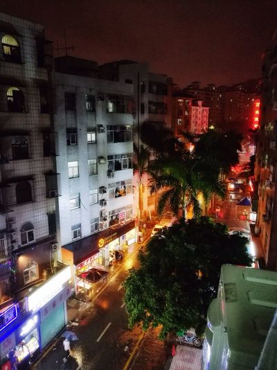 Night Building Exterior Illuminated Architecture City Car Street High Angle View Transportation Outdoors Land Vehicle No People Motion Road Tree Cityscape Sky