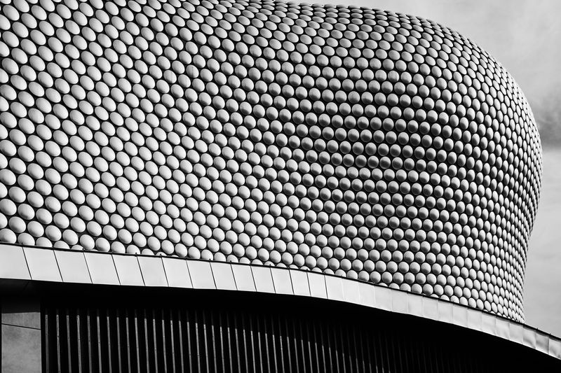 Selfridges Birmingham . UK My Best Photo Pattern Architecture Built Structure Modern Building Exterior Low Angle View Design No People Sky Metal Close-up Day Repetition Shape Building Textured  Outdoors Roof Curve Silver Colored Selfridges & Co Selfridgesbirmingham Selfridges Selfridges_Building Abstract Architecture Architecture_collection Blackandwhite Black And White Photography British Culture