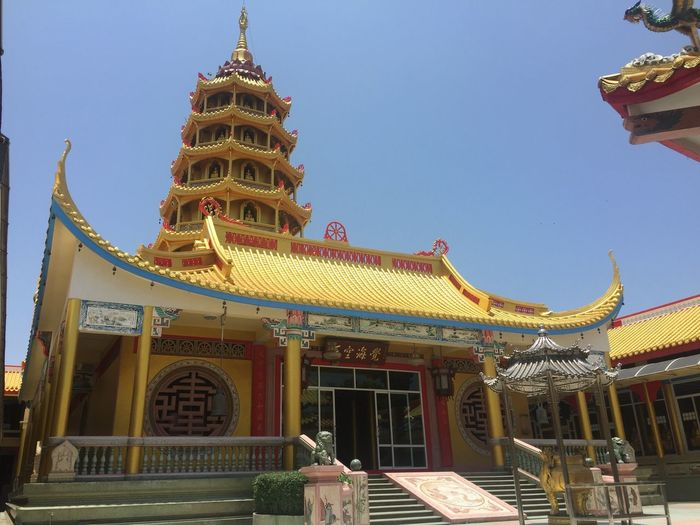 Chinese temple Built Structure Architecture Building Exterior Building Sky Belief Religion Spirituality No People Travel Destinations Tourism Place Of Worship Low Angle View Travel Clear Sky Outdoors Nature Pagoda Day Ornate