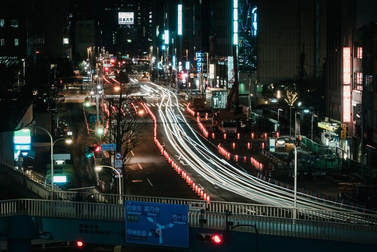 Illuminated Night Architecture City Transportation Built Structure Road Car Connection Mode Of Transportation High Angle View City Street Motor Vehicle Motion Bridge Building Exterior City Life Street Traffic Land Vehicle
