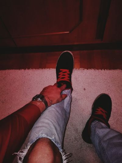 Red passion! Red Lifestyles Men Real People People Indoors  Shirt RedShirt  Jordans On My Feet  Jordan Jordan❤ First Eyeem Photo RedShirt  Indoors  Jordans On My Feet