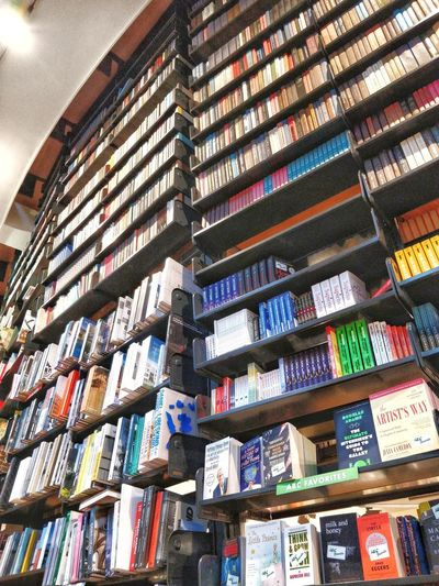 Low angle view of books in shelf