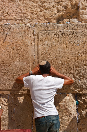 Western Wall Jerusalem Men Standing Rear View Sand Casual Clothing