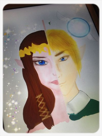 Not sure if anyone knows this game! It's Zelda on Nintendo~ Link And Zelda Illustration Amateur At Drawing Gamer