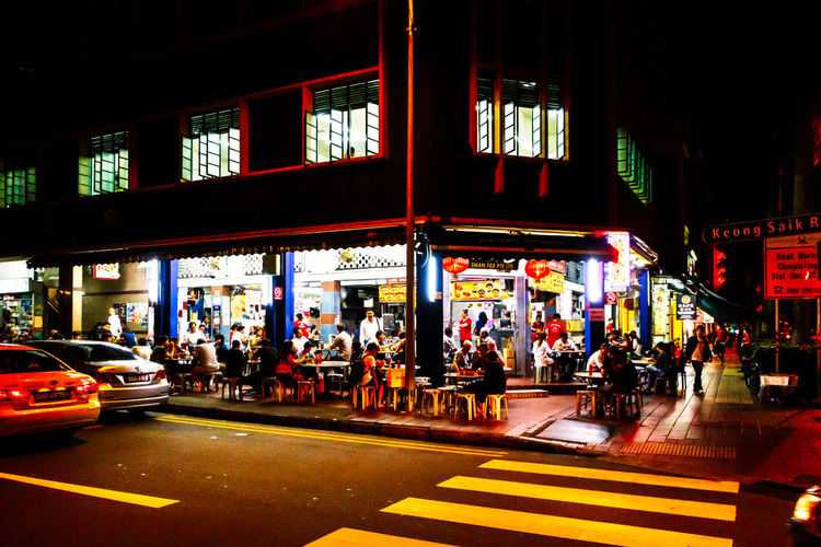 Canon Canon G5X Chinatown City City Life City Street Contrast Dining Eat Eating Food G5X Group Of People Illuminated Lifestyles Night Singapore Streetphotography