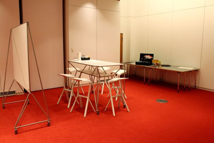 Design Thinking Space Behind The Scenes Brainstorm Business Chair Design Chair Design Table Design Thinking Desk EyeEmNewHere Industrial Design Innovation Konstantin Grcic Meeting Room Red Color Stand Up Meeting System 180 Teamwork Technology White Furniture Whiteboard Workspace