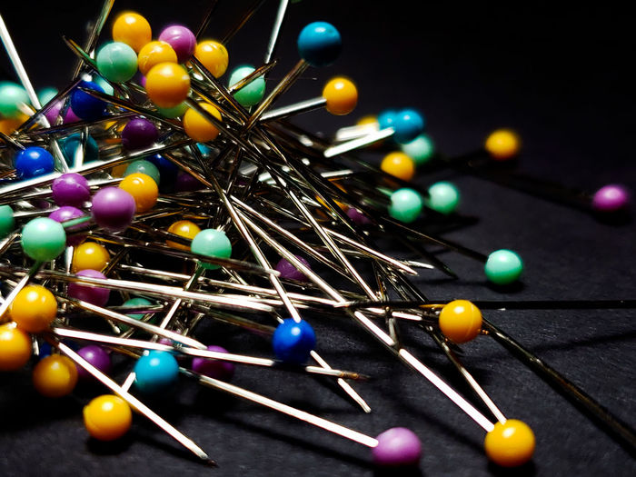 Multi Colored Black Background Sewing Close-up Straight Pin Sewing Item Needlecraft Product My Best Photo