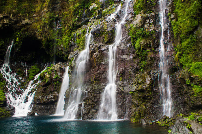 Blue Green Green Color Island Live For The Story Reunion Island Water Waterfall White White Color
